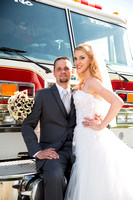 Bride and Groom Photo with Fire Truck